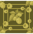 seamless pattern with branches raspberry vector image