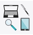 laptop lupe pen smartphone icon vector image