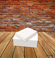 Blank white box mock up on wood background vector image vector image