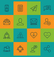 set of 16 social icons includes conversation vector image