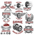 garage service station tires shop auto parts vector image