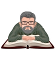 Grandfather reading book Old man in glasses vector image