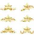 set of golden realistic stars vector image vector image