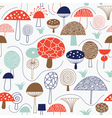 pattern with whimsical mushrooms vector image vector image