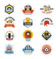 car repair service logo auto badge emblems vector image