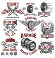 garage service station tires shop auto parts vector image