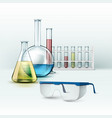 laboratory flasks with glasses vector image
