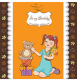 little girl playing with her birthday gifts happy vector image