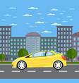 modern universal car in urban landscape vector image