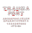 Trauma font Crippled letters wrapped medical vector image