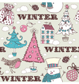 Vintage Christmas Winter pattern vector image vector image