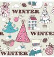 Vintage Christmas Winter pattern vector image