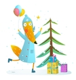 Winter holiday fox celebrating with presents for vector image