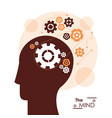 mind head profile gears team work mechanical vector image