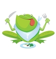 Green frog eating vector image