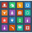 Cowboy icons wild west pictograms vector image