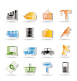 industry and business icons vector image vector image