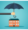Hand holding umbrella over a house vector image vector image
