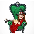 Beautiful witch in red dress sitting in armchair vector image vector image