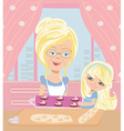 Grandma baking cookies with her granddaughter vector image