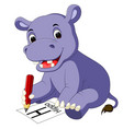 cute hippo cartoon holding pencil vector image