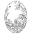 hand drawn wildflowers butterfly and songbirds vector image