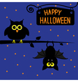 Happy Halloween owl and bat card vector image