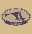 Maryland map silhouette - oval stamp vector image