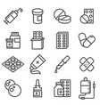 pills capsules and bottles icons set vector image