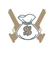symbol with money bag and guns vector image