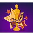 yellow cinema award with stars and film r vector image