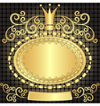 Decorative gold oval plate vector image