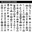 100 avatar icons set simple style vector image