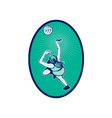 Netball player rebounding jumping for bal vector image vector image