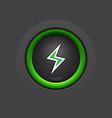 dark glossy circle lightning button vector image