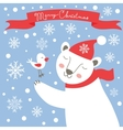 Christmas card with white bear and bird vector image vector image