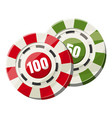 poker chips nominal one hundred and fifty icon vector image