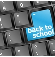Back to school key on computer vector image vector image
