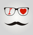 i love hipster mustache and glasses vector image