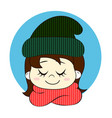 girl in knitted hat and scarf hello winter vector image