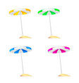 a set of colored beach umbrellas stuck in a small vector image