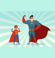 man and boy superheroes retro vector image