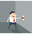 Cartoon man pushing a red button vector image vector image
