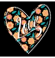 Postcard with heart on dark floral pattern vector image