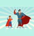 man and boy superheroes retro vector image