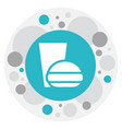 of teach symbol on burger with vector image
