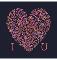 Valentine card I love You template with creative vector image