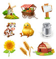 farm set agricultural plants animals and vector image vector image