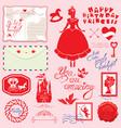 set of vintage postcards post stamps envelope vector image vector image