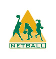 netball player catching jumping passing ball vector image